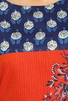 Soch Orange & Navy Printed Cotton Kurti