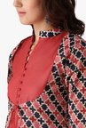 Libas Rust Printed Cotton Kurta, Jacket With Palazzo