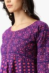Libas Purple & Pink Printed Cotton Kurta