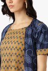 Libas Mustard & Navy Printed Cotton Kurta