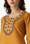 Libas Yellow Embroidered Cotton Pathani Kurta