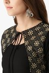 Libas Black Printed Rayon Anarkali Kurta With Jacket