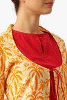 Desi Fusion Red & Yellow Printed Cotton Kurta With Shrug