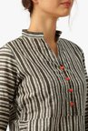 Desi Fusion Grey & Red Striped Cotton Kurta with Palazzo