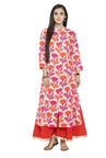 Varanga White & Pink Cotton Kurta With Palazzo