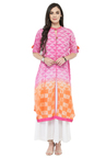 Varanga Pink & White Cotton Blend Kurta With Palazzo
