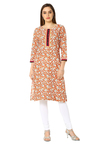 Soch Orange & Cream Floral Print Cotton Kurta