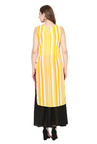 Juniper Yellow Printed Georgette High Low Kurta