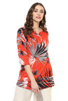Juniper Orange Printed Rayon Viscose A-Line Kurti