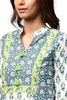 Jaipur Kurti Off White & Blue Printed Cotton Kurta