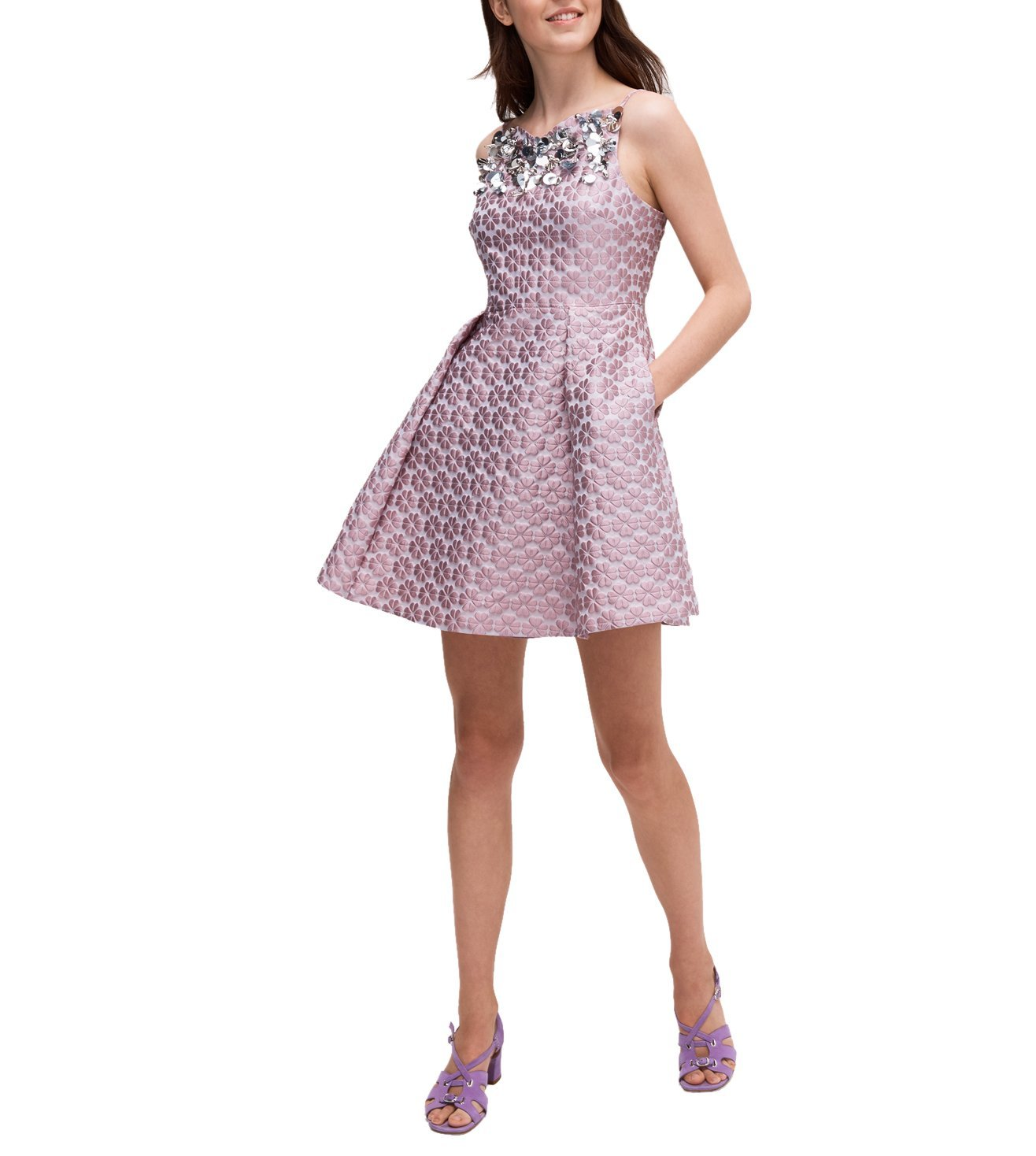 KATE SPADE ICED GRAPE FLORA EMBELLISHED DRESS