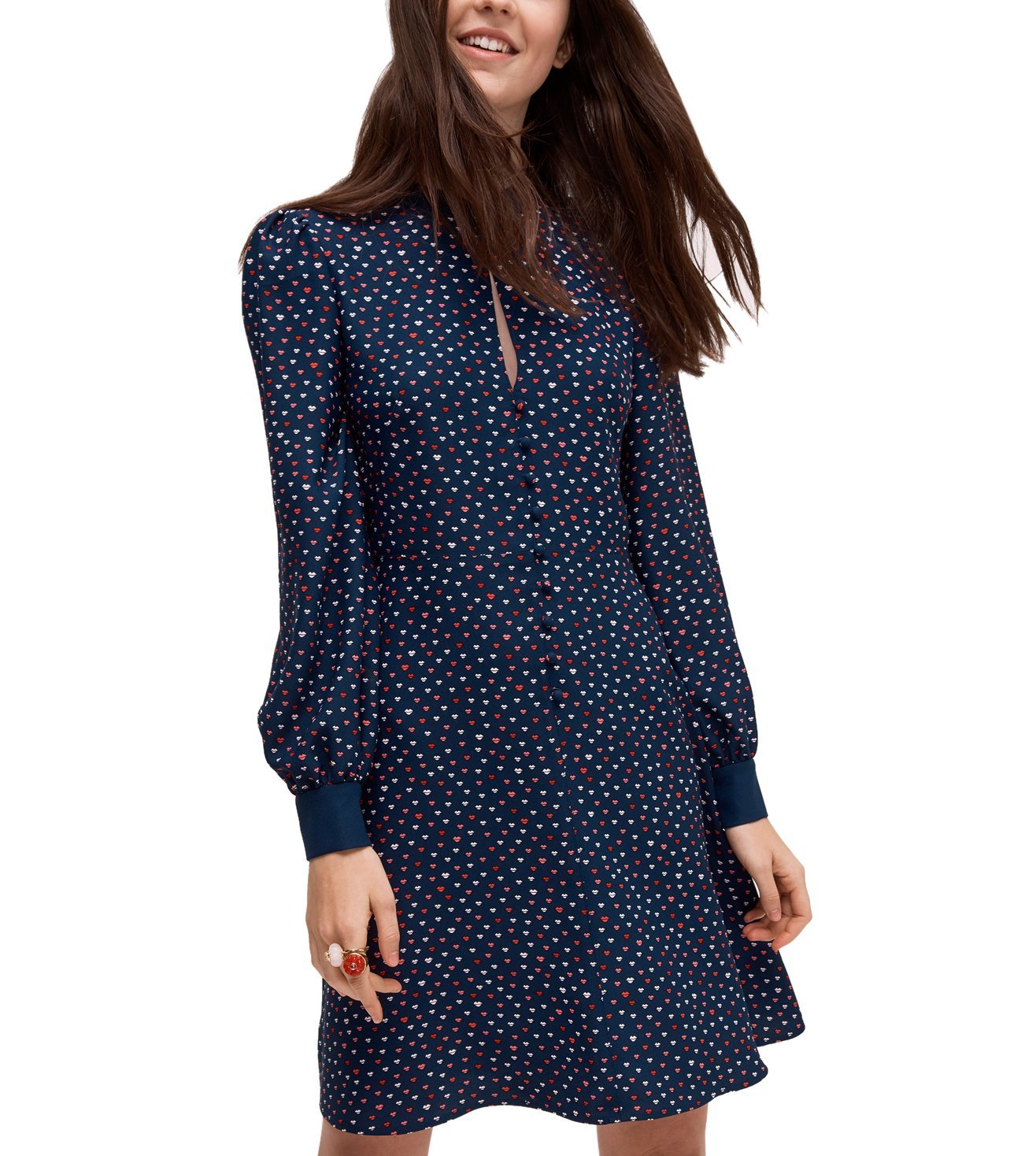 KATE SPADE PRISIAN NAVY LIPS CREPE DRESS