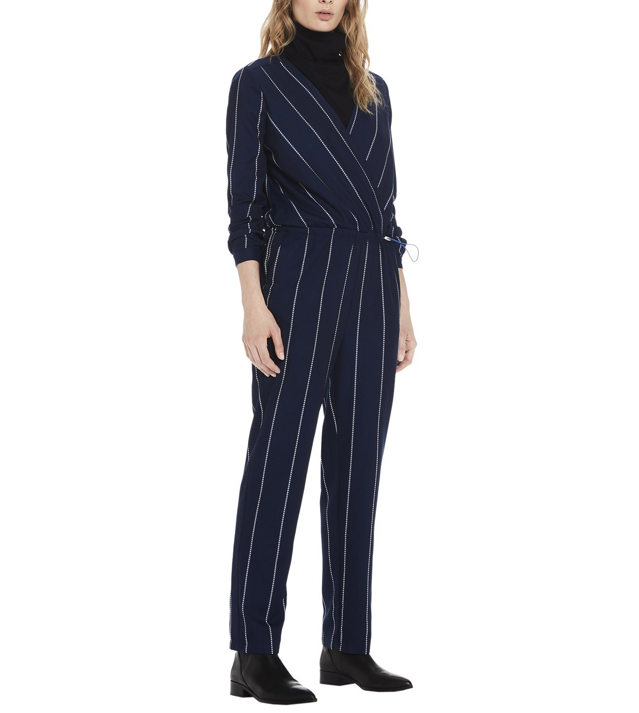 SCOTCH & SODA BLUE ALL IN 1 WRAP-OVER BODY STRIPED JUMPSUIT