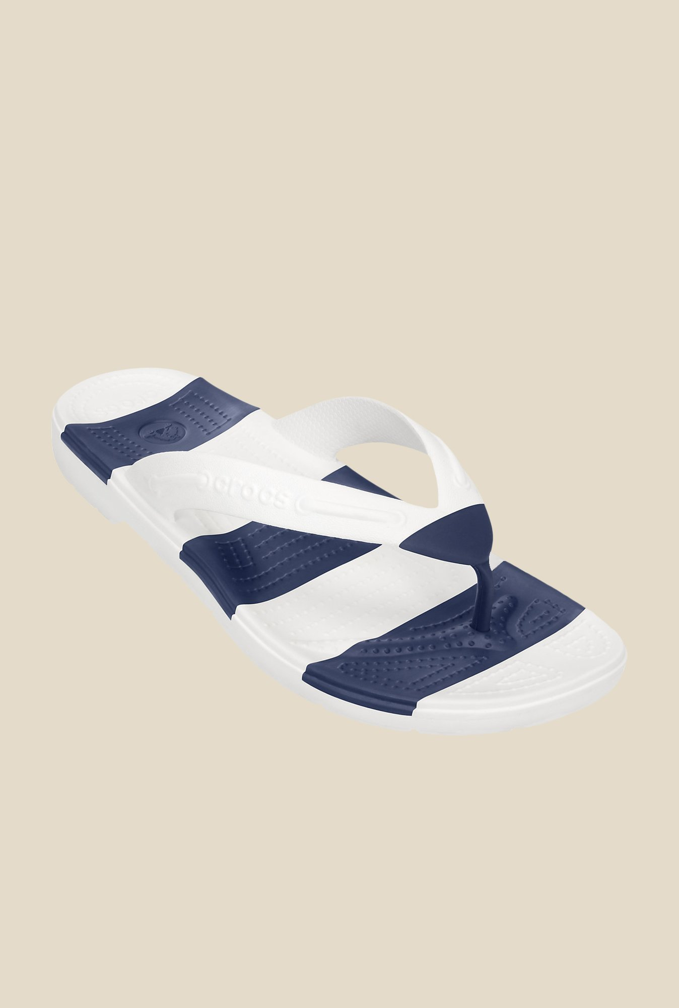 d61dcfd48f0c0 Buy Crocs Beach Line White   Navy Flip Flops Online at best price at  TataCLiQ