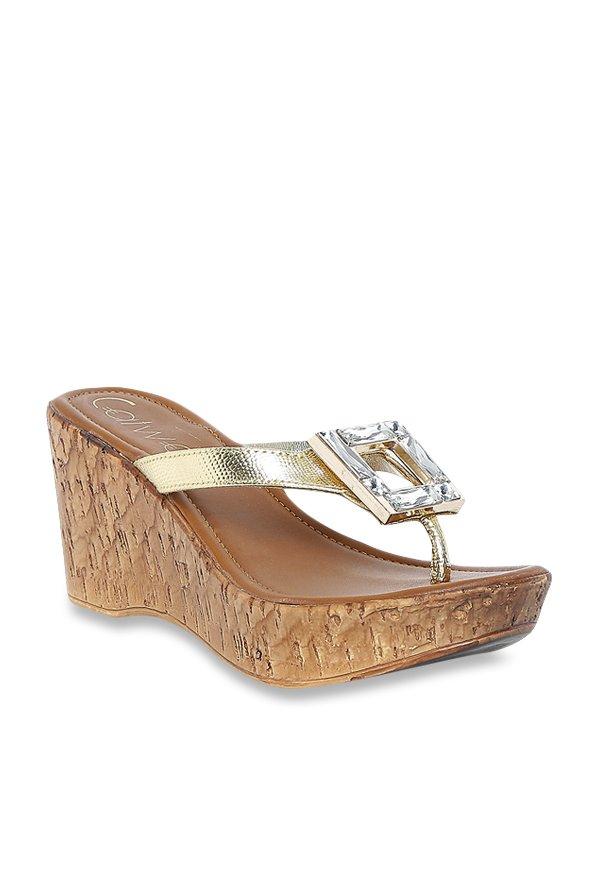 d08618d3069e07 Buy Catwalk Golden Wedge Heeled Thong Sandals for Women at ...