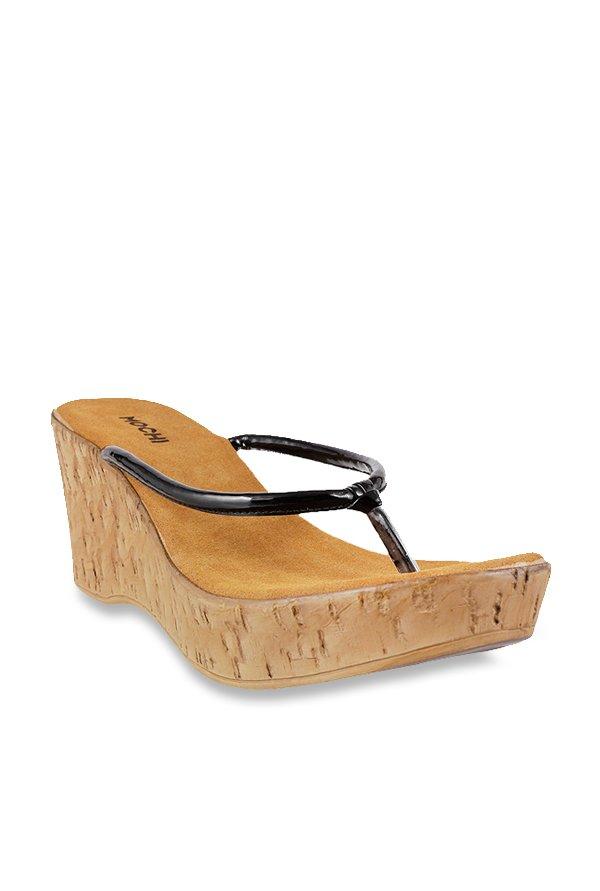 Mochi Black Wedge Heeled Thong Sandals