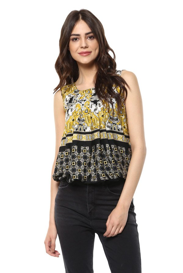 Mayra Yellow & Black Printed Top