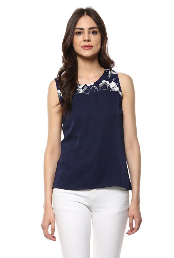 Mayra Navy Printed Top