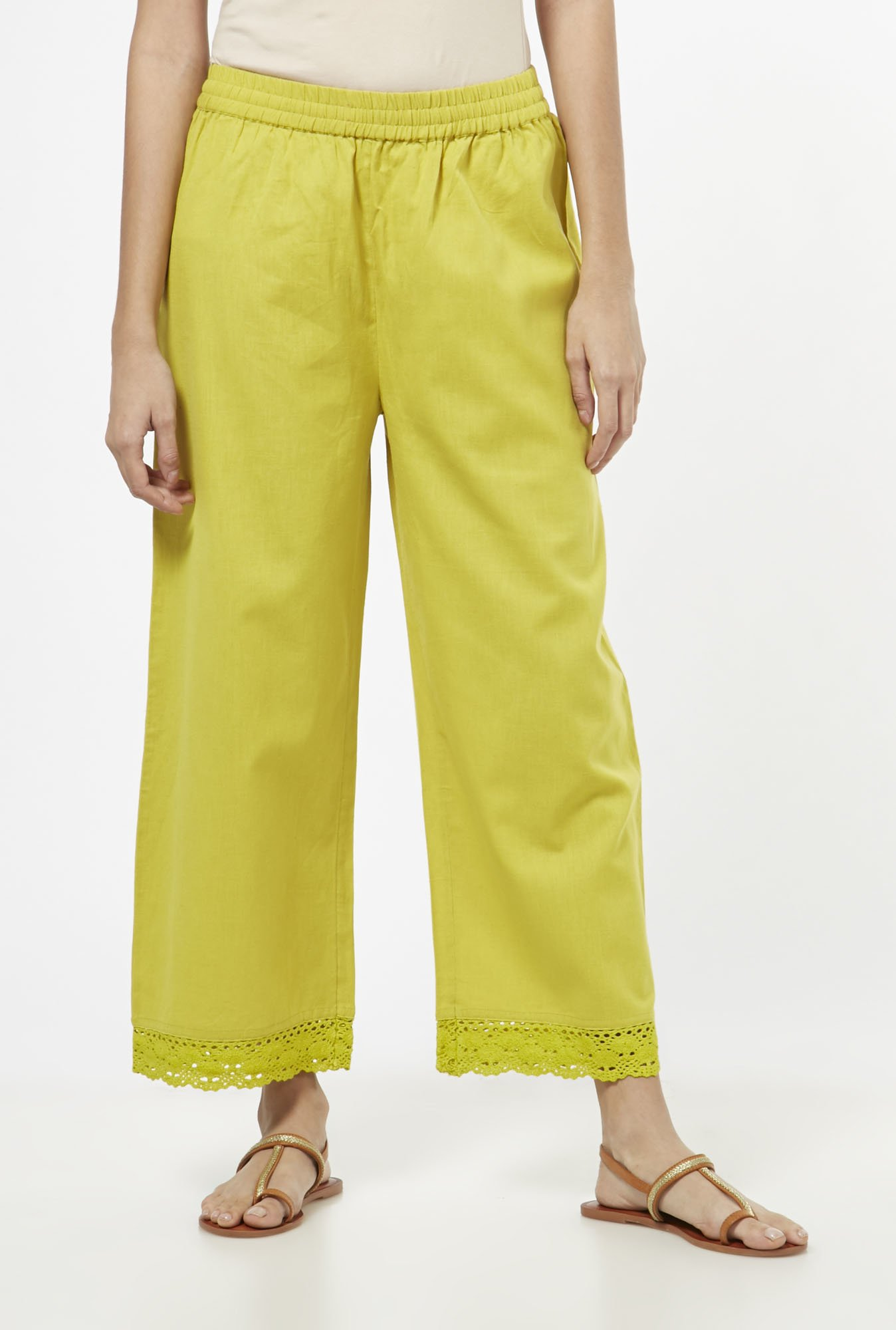 Utsa by Westside Lime Green Palazzos