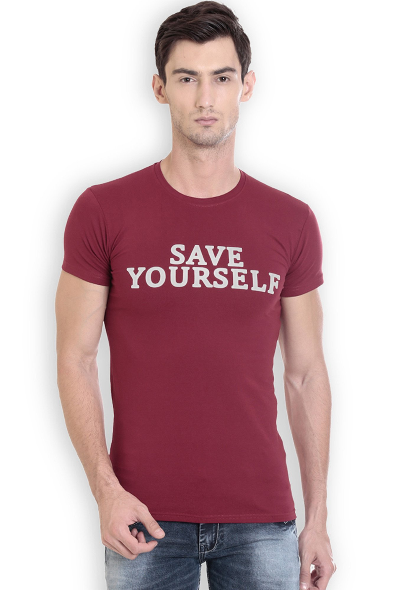 ROCX Maroon Printed Slim Fit T-Shirt