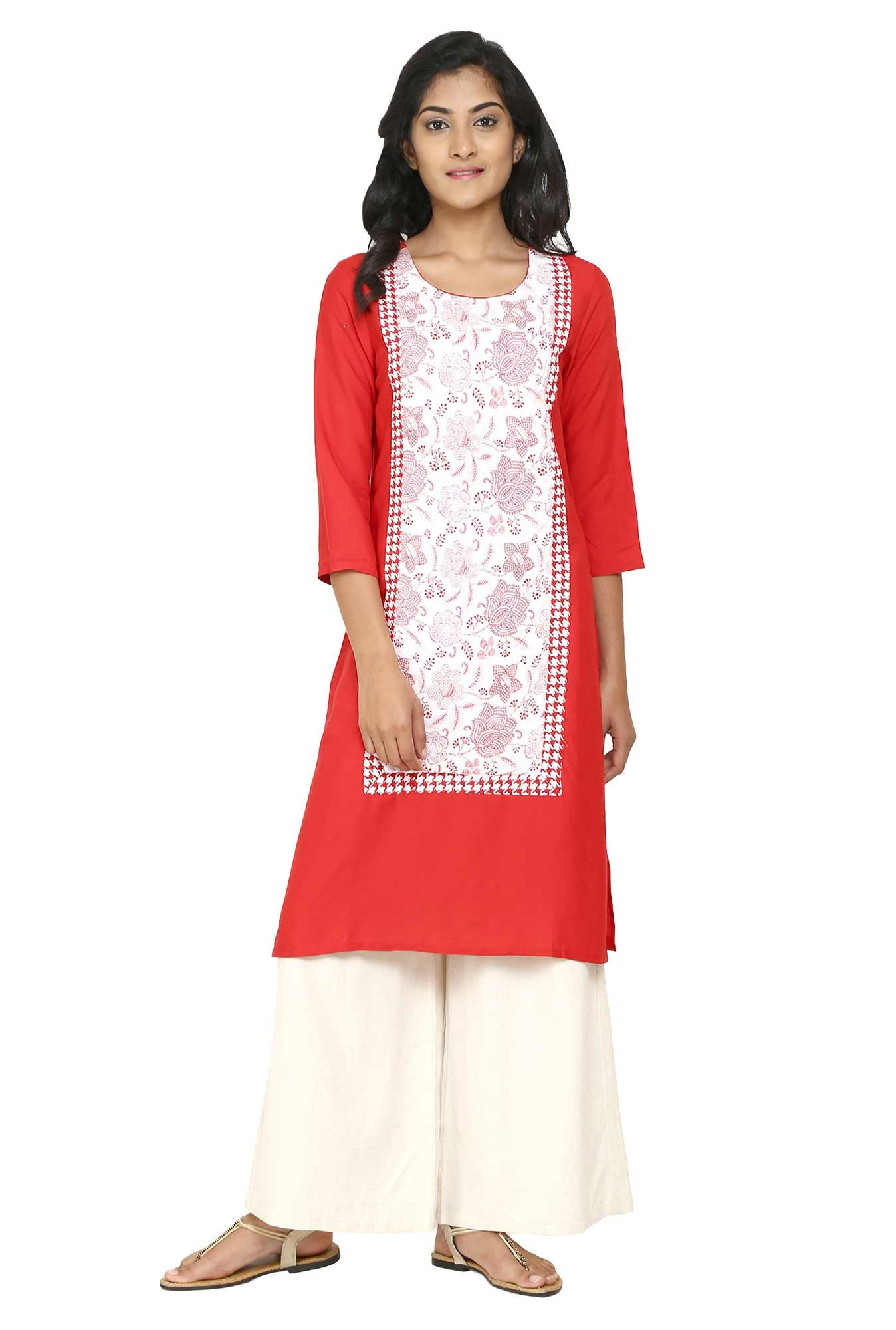 Aaboli Red & White Floral Print Rayon Straight Kurta