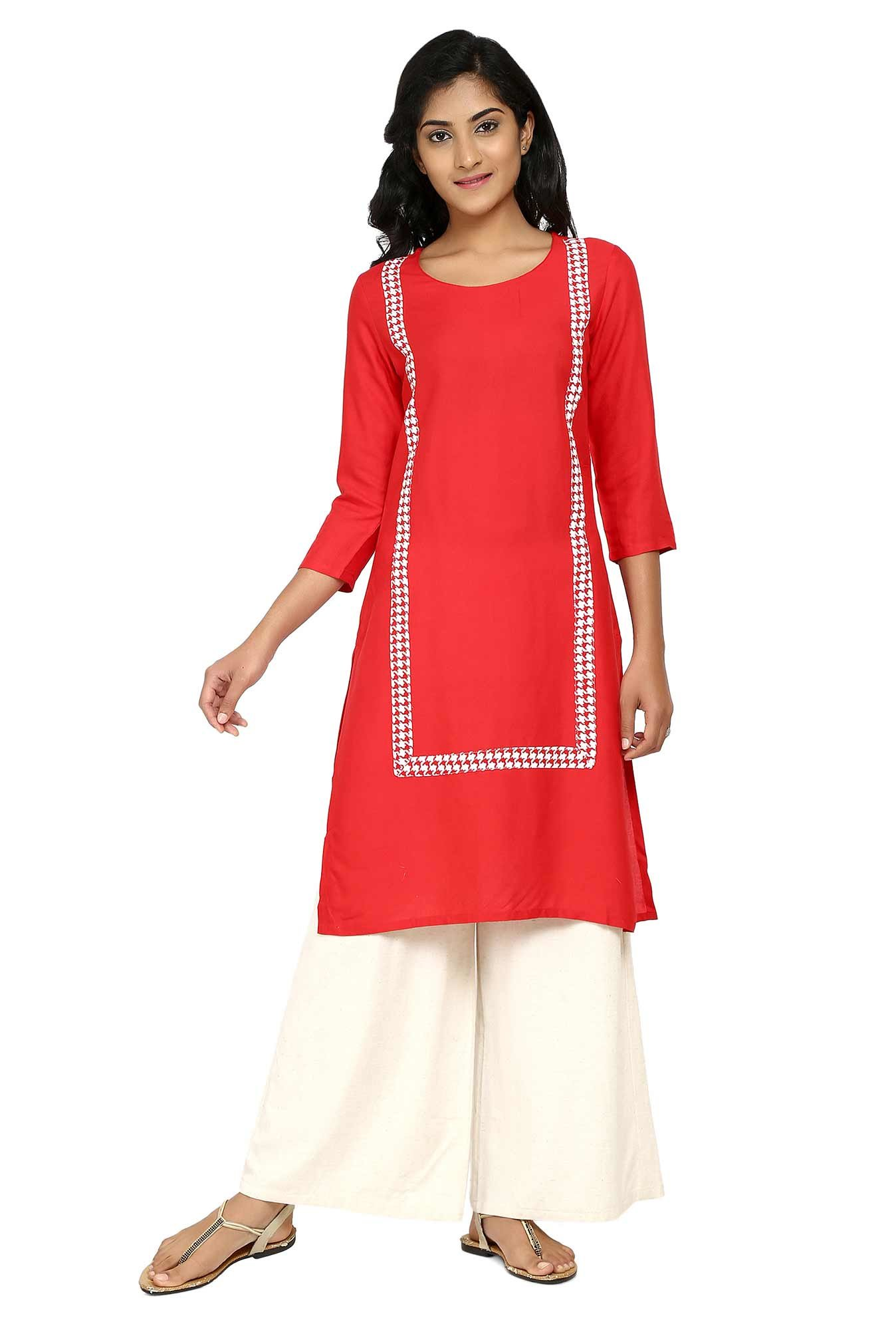 Aaboli Red Round Neck Rayon Straight Kurta