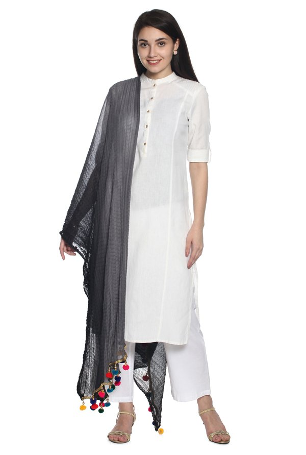 Soch Black Synthetic Dupatta