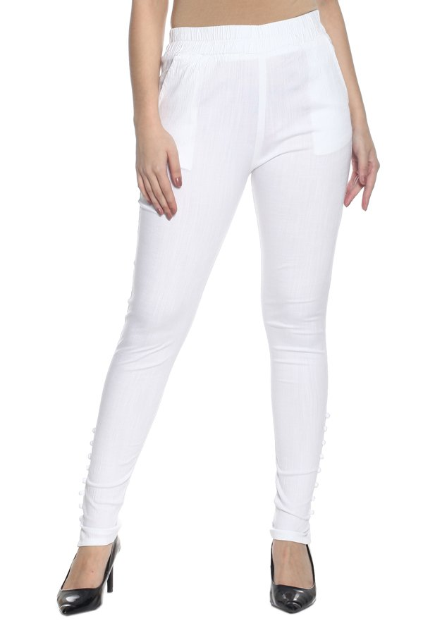 Soch White Slim Fit Cotton Pants