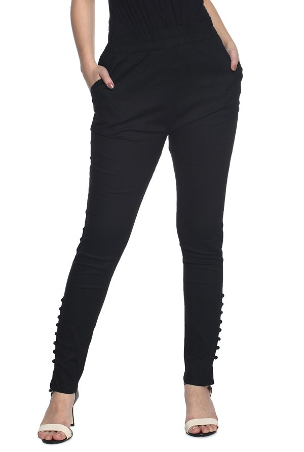 Soch Black Slim Fit Cotton Pants