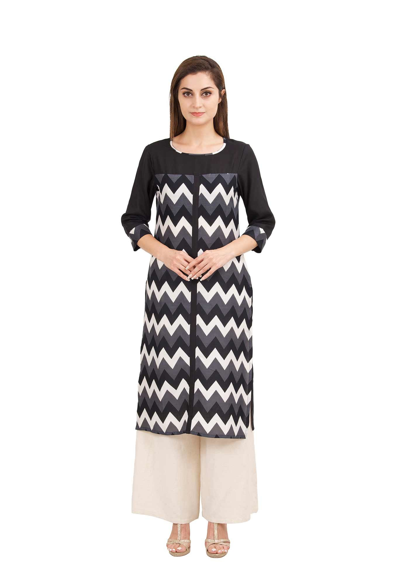 Aaboli Black & Grey Printed Rayon Straight Kurta