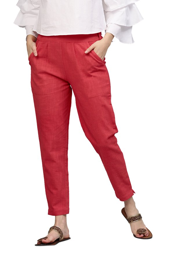 Jaipur Kurti Coral Cotton Slub Pants