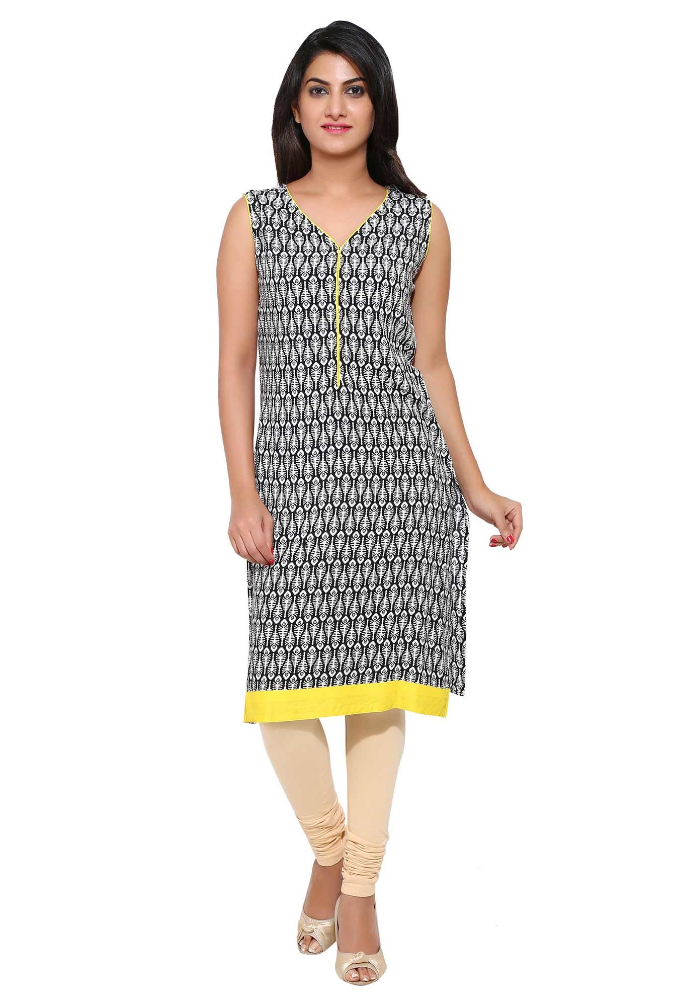 Aaboli White & Black Printed Rayon Straight Kurta
