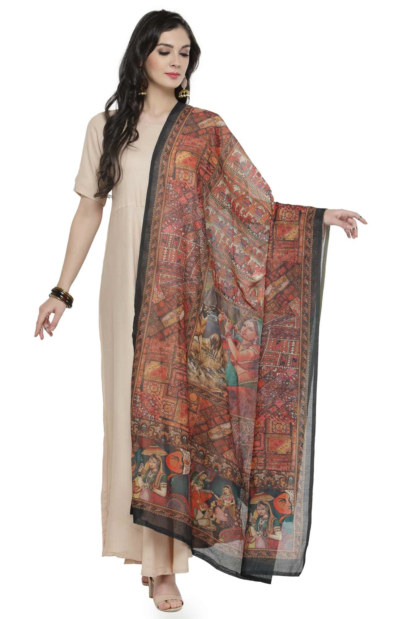 Varanga Multicolor Printed Silk Blend Chanderi Dupatta