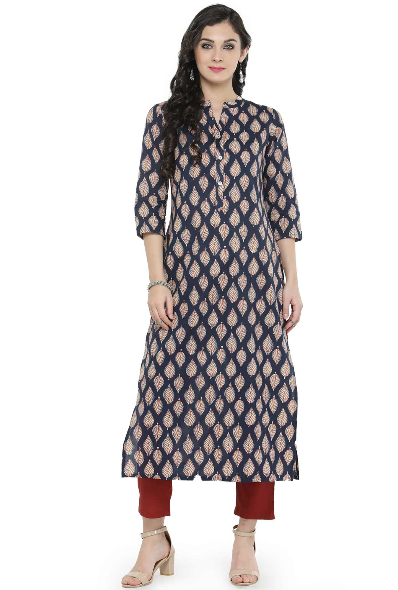 Varanga Navy Printed Cotton Kurta
