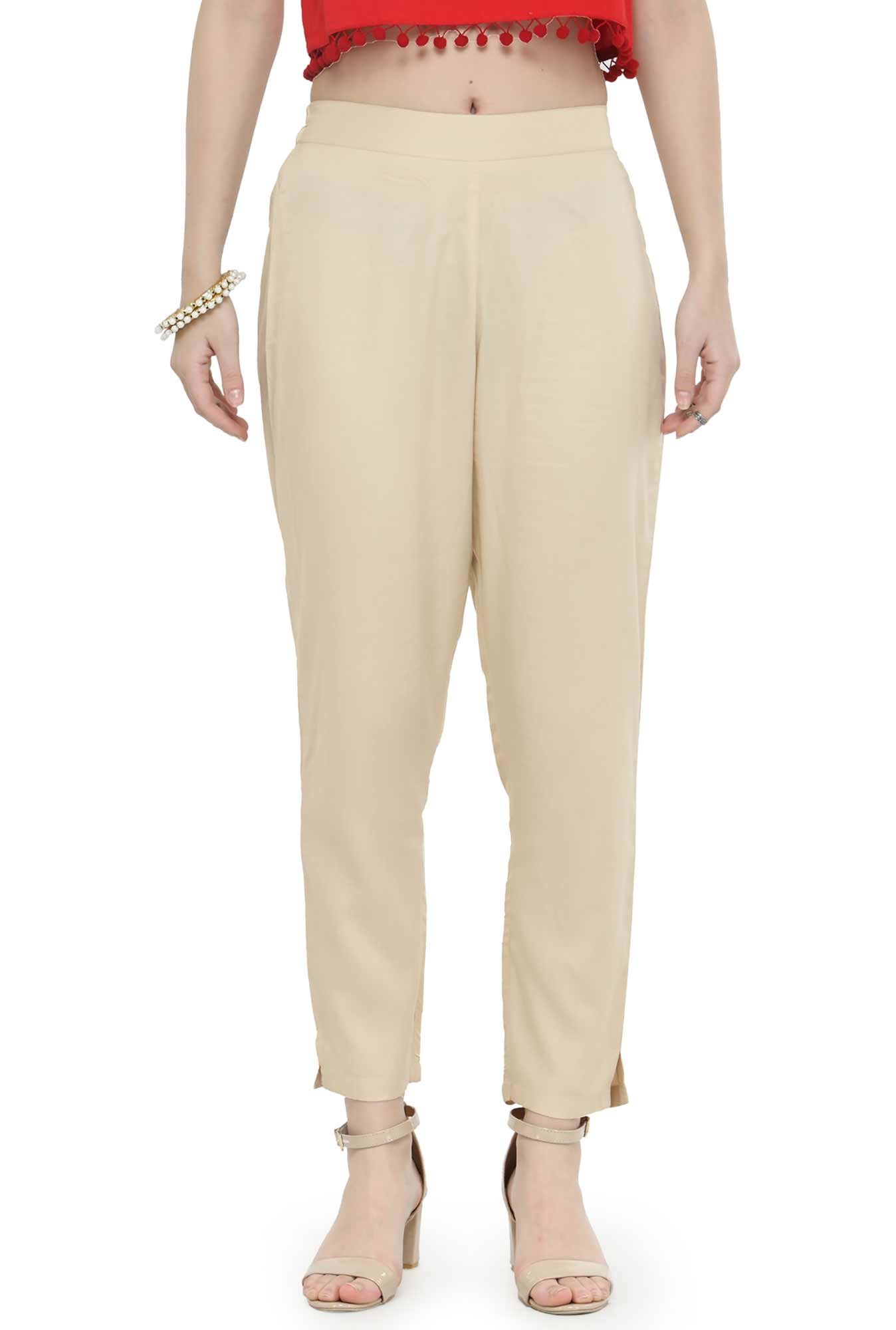 Varanga Beige Regular Fit Cigarette Pants