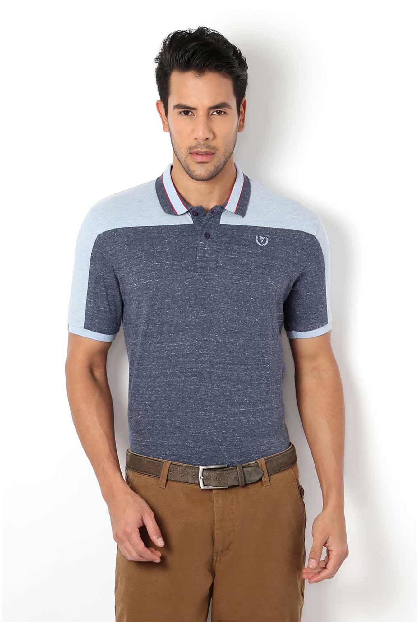 Van Heusen Navy Textured Polo T-Shirt