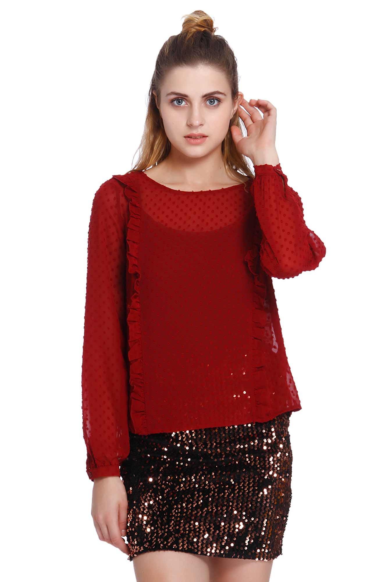 3f76d662de2 Buy Only Red Self Print Top for Women Online   Tata CLiQ