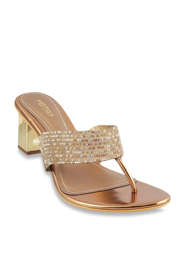 2bf29e666a15eb Buy Metro Antique Gold T-Strap Sandals for Women at Best Price ...