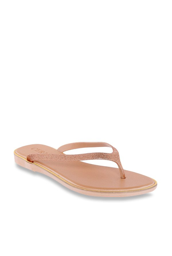 01014156213f Buy CERIZ Blanche Rose Gold Thong Sandals for Women at Best ...