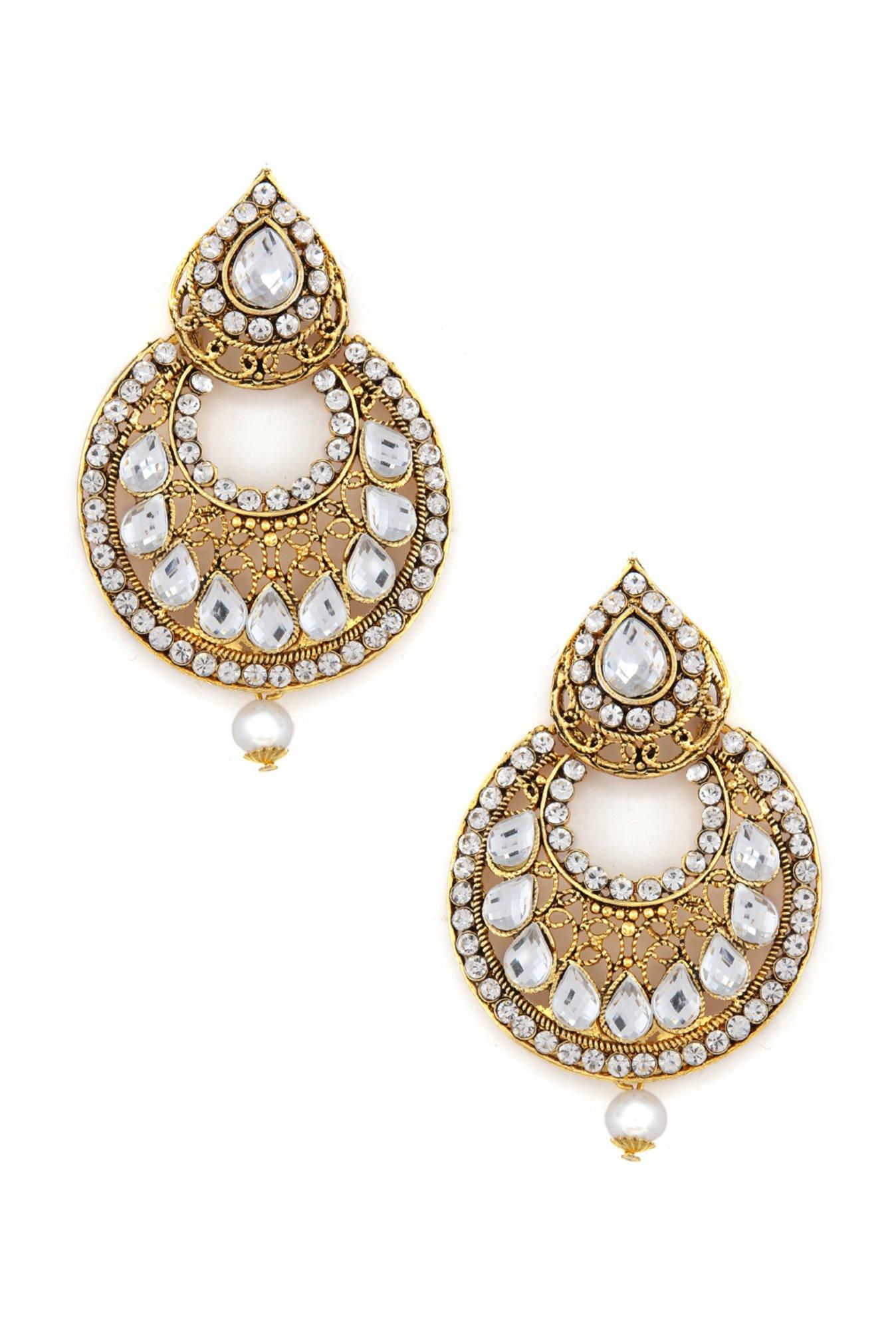 Buy Rubans Polki Golden Metal Chand Bali Earrings Online At Best