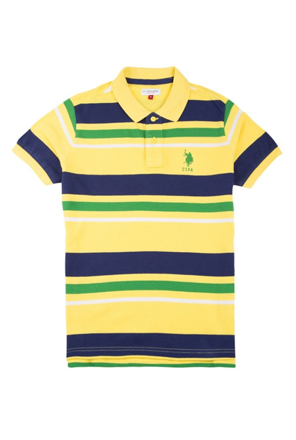 c69c20d5fb Buy US Polo Kids Yellow Striped T-Shirt for Boys Clothing Online ...