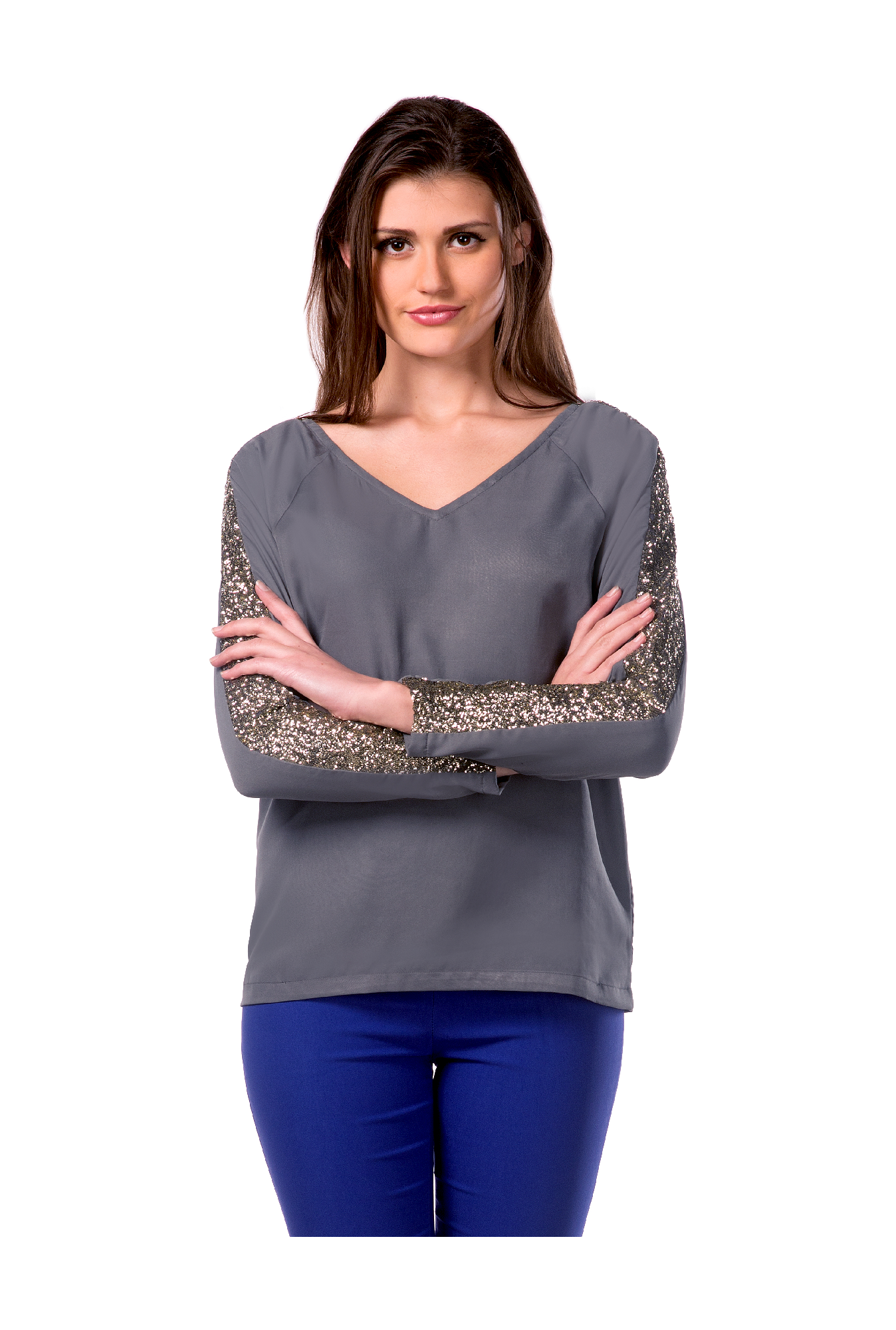 bbad3a1b67d3bd Buy Miss Chase Grey Crepe Top for Women Online   Tata CLiQ