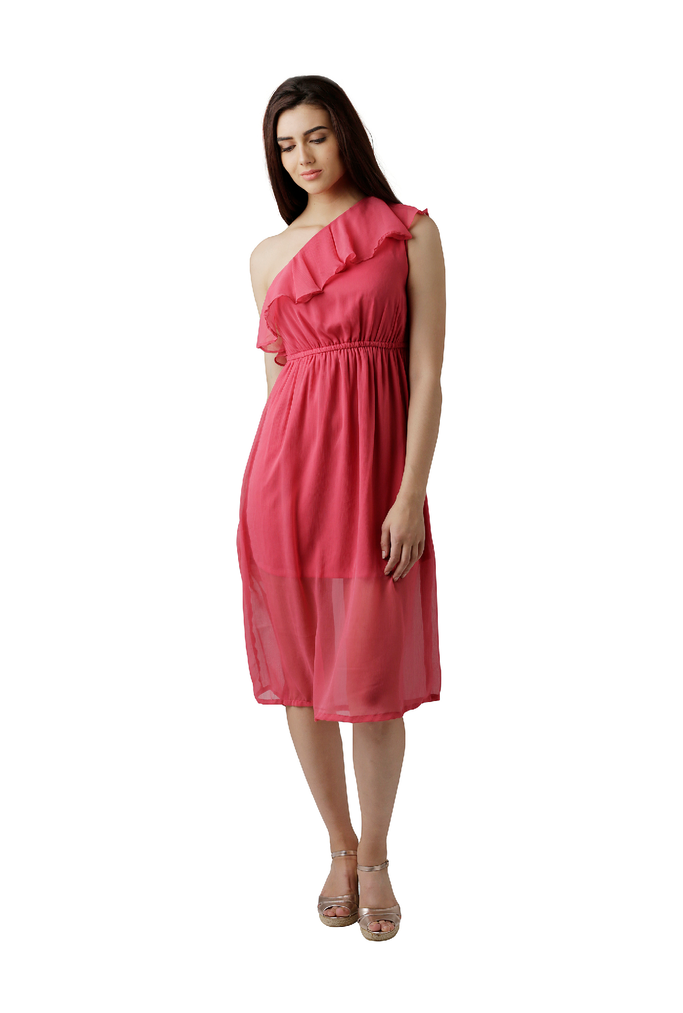5a5b2c3e6f13 Buy Miss Chase Pink Relaxed Fit Midi Dress for Women Online ...