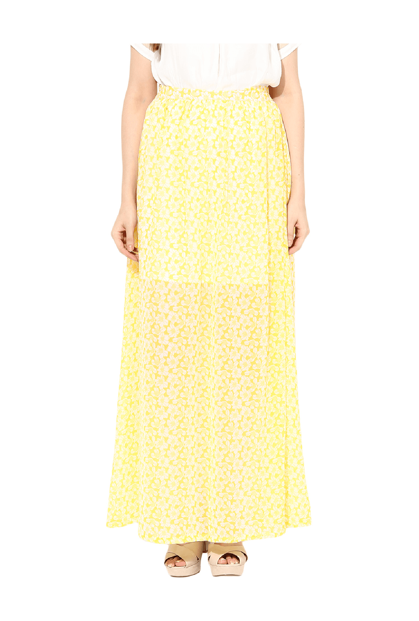 d18db6a466 Yellow Floral Print Maxi Skirt - Data Dynamic AG