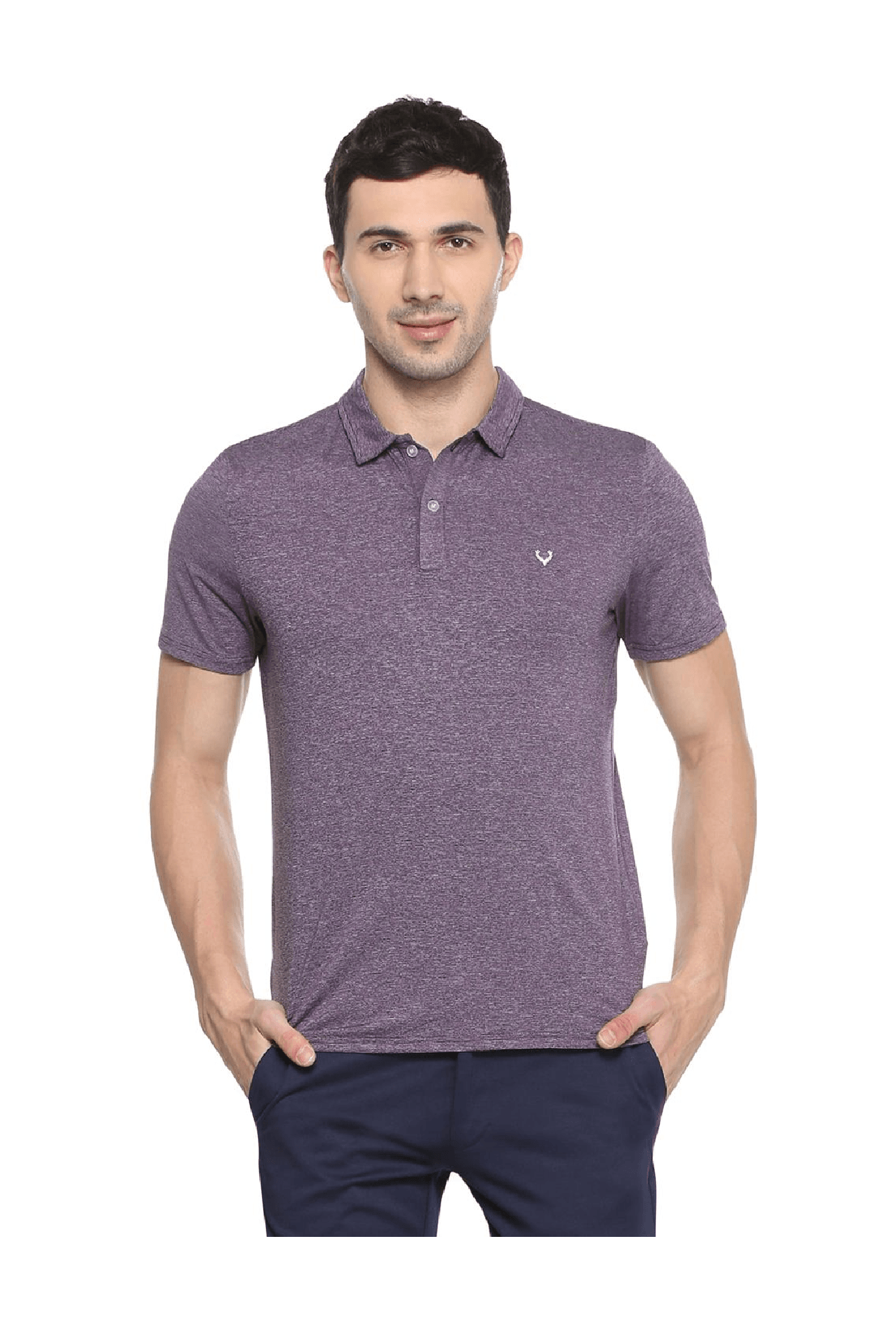 Buy Allen Solly Purple Regular Fit Wimbledon Polo T Shirt For Men