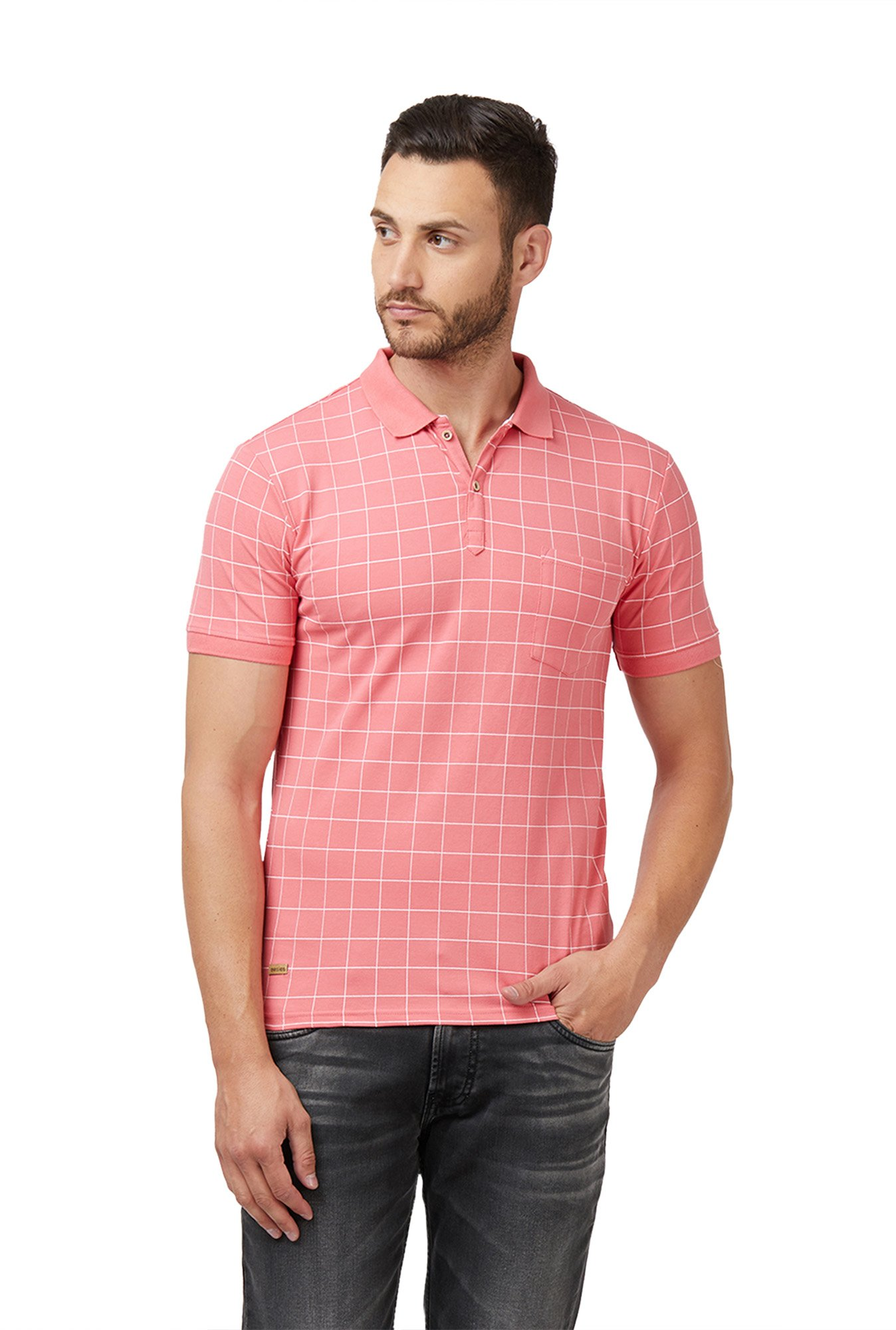 0e41adf1916 Buy Easies Pink Half Sleeves Slim Fit Checks T-Shirt for Men Online ...