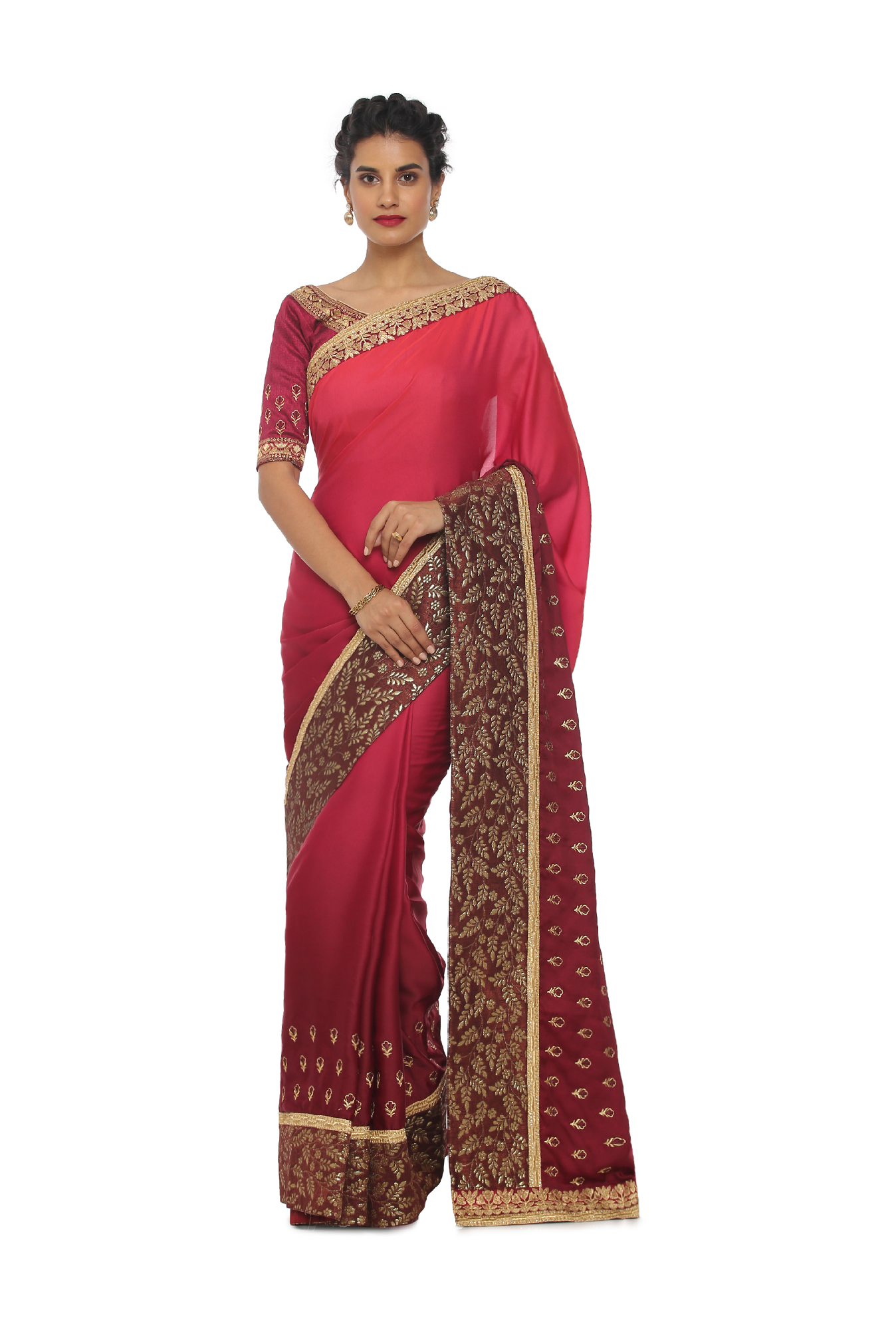 c34fbbc066dcab Buy Soch Maroon Embroidered Art Silk Saree With Blouse for Women Online    Tata CLiQ