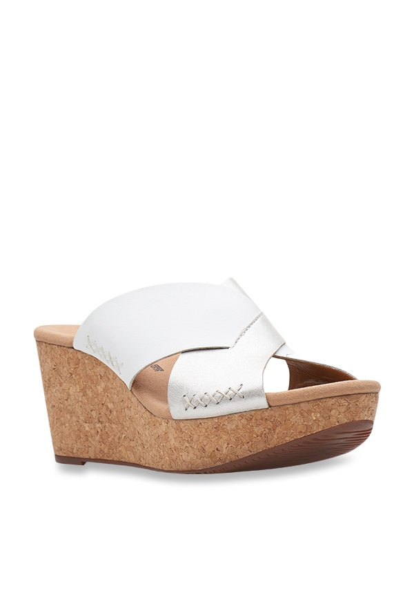 55619d479e8 Buy Clarks Annadel Danae Silver Cross Strap Wedges for Women at Best Price    Tata CLiQ