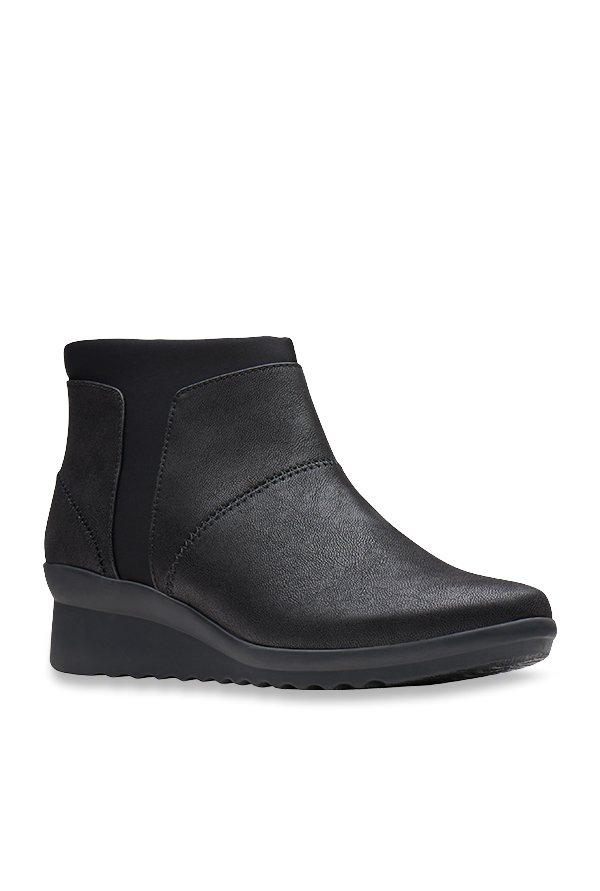 7e72964fa8d9 Buy Clarks Caddell Sloane Black Wedge Booties for Women at Best Price    Tata CLiQ