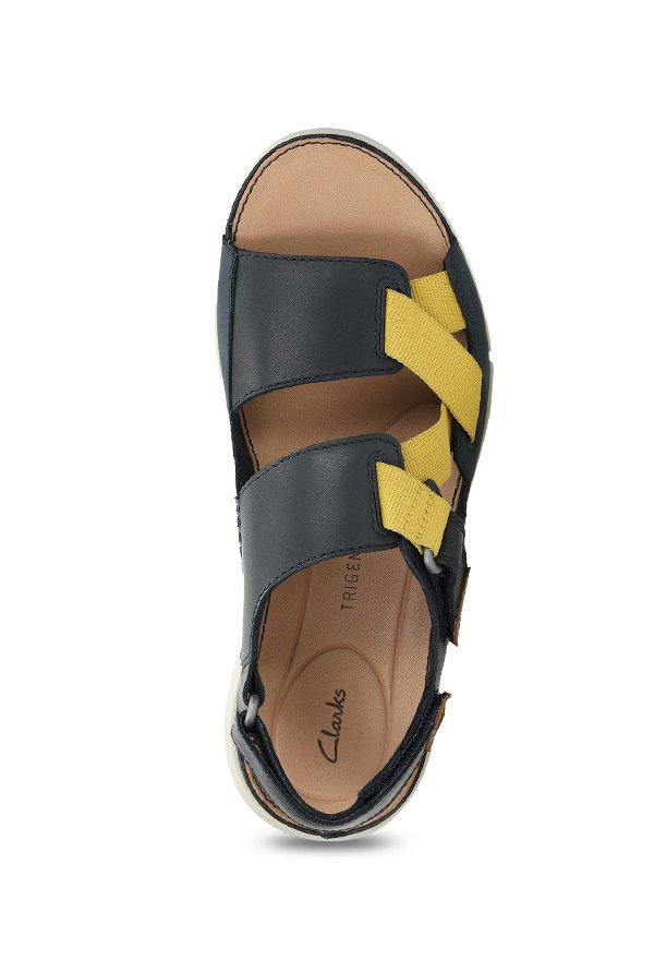 Objetor Respectivamente Una vez más  Clarks TriSand Sun Navy & Yellow Back Strap Sandals from Clarks at best  prices on Tata CLiQ